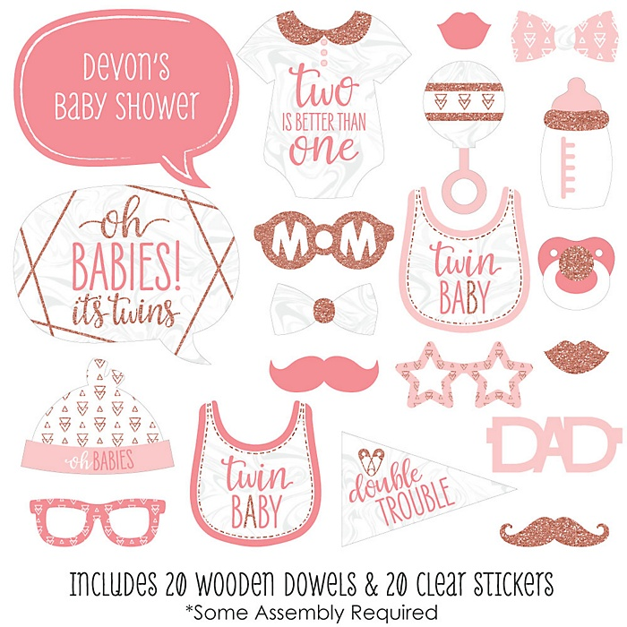 It's Twin Girls - 20 Piece Pink and Rose Gold Twins Baby Shower Photo Booth Props Kit