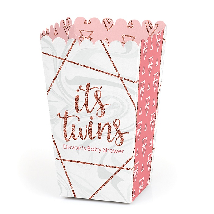 It's Twin Girls - Personalized Pink and Rose Gold Twins Baby Shower Favor Popcorn Treat Boxes - Set of 12