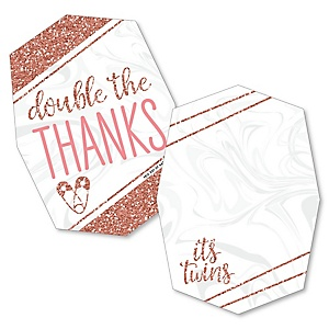 It's Twin Girls - Shaped Thank You Cards - Pink and Rose Gold Twins Baby Shower Thank You Note Cards with Envelopes - Set of 12