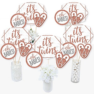 It's Twin Girls - Pink and Rose Gold Twins Baby Shower Centerpiece Sticks - Table Toppers - Set of 15