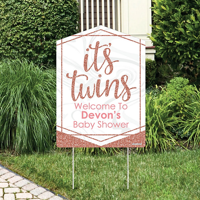 It's Twin Girls - Party Decorations - Pink and Rose Gold Twins Baby Shower Personalized Welcome Yard Sign