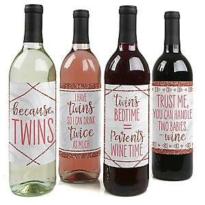 It's Twin Girls - Pink and Rose Gold Twins Baby Shower Decorations for Women and Men - Wine Bottle Label Stickers - Set of 4