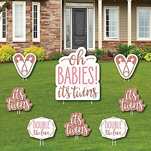 It's Twin Girls - Yard Sign and Outdoor Lawn Decorations - Pink and Rose Gold Twins Baby Shower Yard Signs - Set of 8