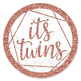 It's Twin Girls - Pink and Rose Gold Twins Baby Shower Theme