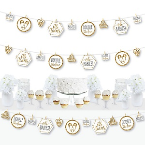 It's Twins - Gold Twins Baby Shower DIY Decorations - Clothespin Garland Banner - 44 Pieces