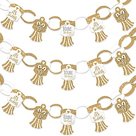 It's Twins - 90 Chain Links and 30 Paper Tassels Decoration Kit - Gold Twins Baby Shower Paper Chains Garland - 21 feet