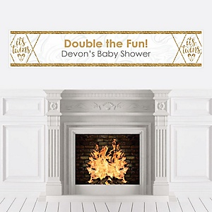 It's Twins - Personalized Gold Twins Baby Shower Banner