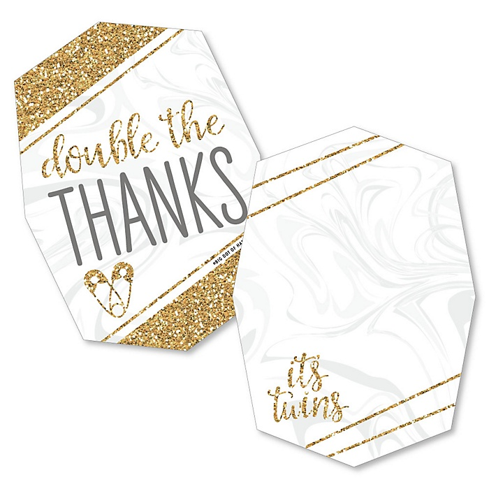 It's Twins - Shaped Thank You Cards - Gold Twins Baby Shower Thank You Note Cards with Envelopes - Set of 12