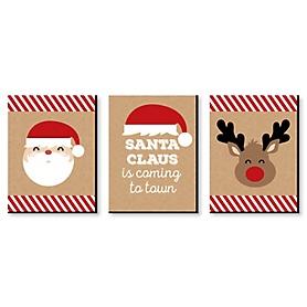 Jolly Santa Claus - Christmas Wall Art and Holiday Decorations - 7.5 x 10 inches - Set of 3 Prints