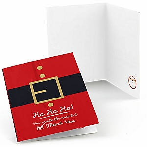 Jolly Santa Claus - Christmas Party Thank You Cards - 8 ct