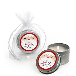 Jolly Santa Claus - Personalized Christmas Candle Tin Favors - Set of 12