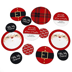 Jolly Santa Claus - Personalized Christmas Party Giant Circle Confetti - Santa Claus Party Decorations - Large Confetti 27 Count