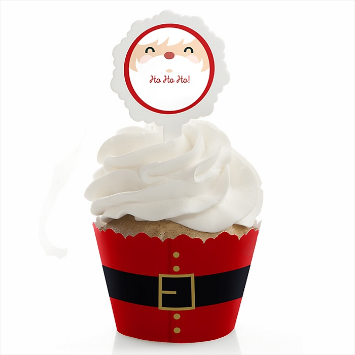Jolly Santa Claus - Christmas Party Cupcake Wrapper & Pick Party Kit - Set of 24