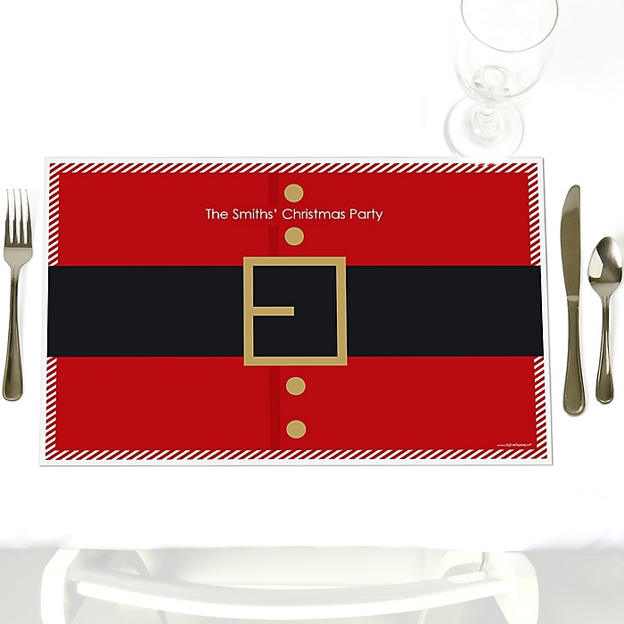 Jolly Santa Claus - Party Table Decorations - Personalized Christmas Party Placemats - Set of 12