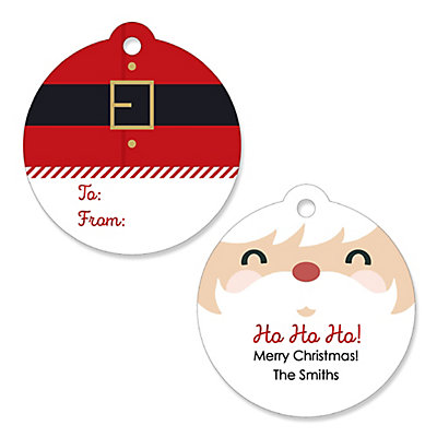 jolly santa claus personalized christmas party gift tags 20 ct