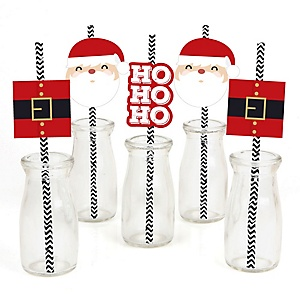 Jolly Santa Claus - Paper Straw Decor - Christmas Party Striped Decorative Straws - Set of 24