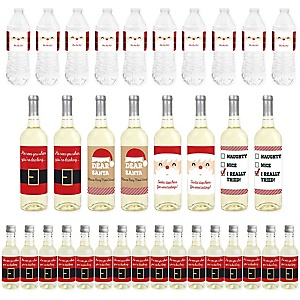 Jolly Santa Claus - Mini Wine Bottle Labels, Wine Bottle Labels and Water Bottle Labels - Christmas Party Decorations - Beverage Bar Kit - 34 Pieces