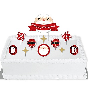 Jolly Santa Claus - Christmas Party Cake Decorating Kit - Merry Christmas Cake Topper Set - 11 Pieces