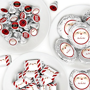 Jolly Santa Claus - Mini Candy Bar Wrappers, Round Candy Stickers and Circle Stickers - Christmas Party Candy Favor Sticker Kit - 304 Pieces