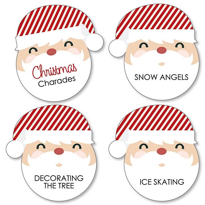 Jolly Santa Claus - Holiday & Christmas Party Game - Holiday Charades Cards - Set of 24
