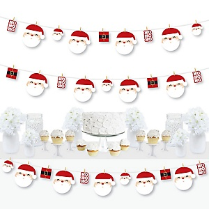 Jolly Santa Claus - Christmas Party DIY Decorations - Clothespin Garland Banner - 44 Pieces