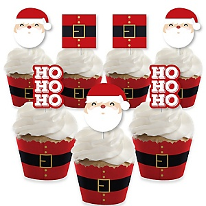 Jolly Santa Claus - Cupcake Decoration - Christmas Party Cupcake Wrappers and Treat Picks Kit - Set of 24