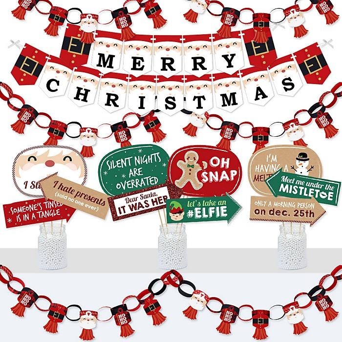 Jolly Santa Claus - Banner and Photo Booth Decorations - Christmas Party Supplies Kit - Doterrific Bundle