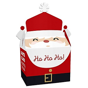Jolly Santa Claus - Treat Box Party Favors - Christmas Party Goodie Gable Boxes - Set of 12