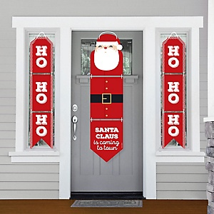Jolly Santa Claus - Hanging Porch Front Door Signs - Christmas Party Banner Decoration Kit - Outdoor Door Decor
