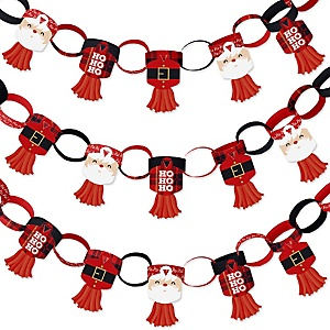 Jolly Santa Claus - 90 Chain Links and 30 Paper Tassels Decoration Kit - Christmas Party Paper Chains Garland - 21 feet