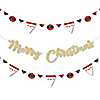 Jolly Santa Claus - Christmas Party Letter Banner Decoration - 36 Banner Cutouts and No-Mess Real Gold Glitter Merry Christmas Banner Letters