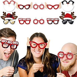 Jolly Santa Claus Glasses and Masks - Paper Card Stock Christmas Party Photo Booth Props Kit - 10 Count