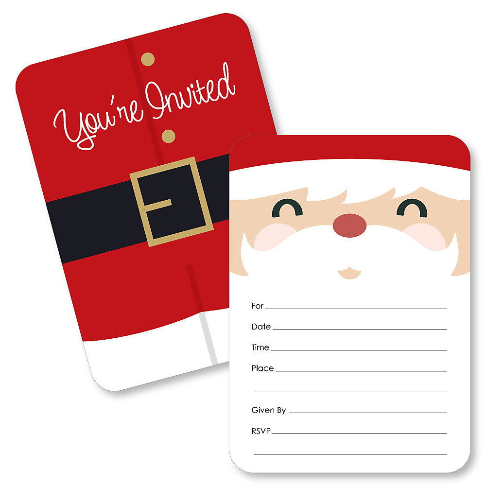 Jolly Santa Claus Shaped Fill In Invitations Christmas Party Invitation Cards With Envelopes Set Of 12