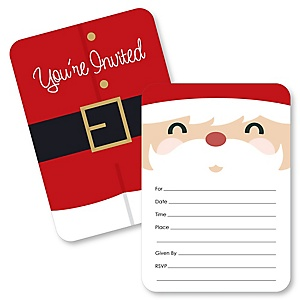 Jolly Santa Claus - Shaped Fill-In Invitations - Christmas Party Invitation Cards with Envelopes - Set of 12