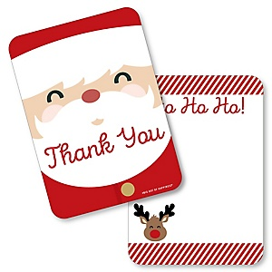 Jolly Santa Claus - Shaped Thank You Cards - Christmas Party Thank You Note Cards with Envelopes - Set of 12