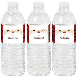 Jolly Santa Claus - Christmas Party Water Bottle Sticker Labels - Set of 20