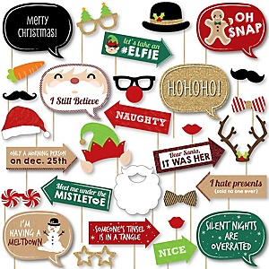 Jolly Santa Claus - Christmas Party DIY Photo Booth Decor and Accessories - Picture Perfect Props Kit - 30 Pieces