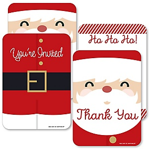 Jolly Santa Claus - 20 Shaped Fill-In Invitations and 20 Shaped Thank You Cards Kit - Christmas Party Stationery Kit - 40 Pack