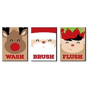 Jolly Santa Claus - Kids Bathroom Rules Wall Art - 7.5 x 10 inches - Set of 3 Signs - Wash, Brush, Flush