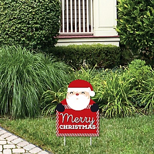 Jolly Santa Claus Merry Christmas - Outdoor Lawn Sign - Christmas Party Yard Sign - 1 Piece