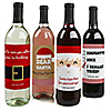 Funny Jolly Santa Claus - Christmas Wine Bottle Label Stickers - Set of 4