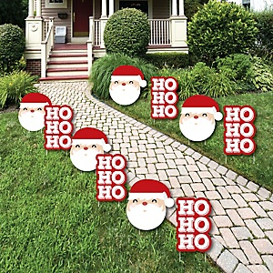 Jolly Santa Claus - Santa Claus Lawn Decorations - Outdoor Christmas Yard Decorations - 10 Piece