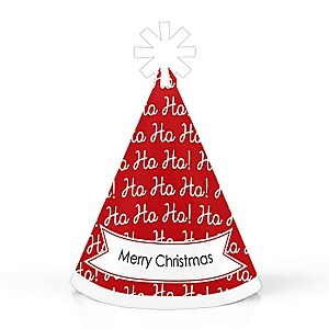 Jolly Santa Claus - Mini Cone Merry Christmas Party Hats - Small Party Hats - Set of 10