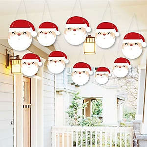 Hanging Jolly Santa Claus - Outdoor Christmas Hanging Porch & Tree Yard Decorations - 10 Pieces