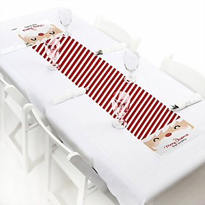 "Jolly Santa Claus - Personalized Petite Christmas Party Table Runner - 12"" x 60"""