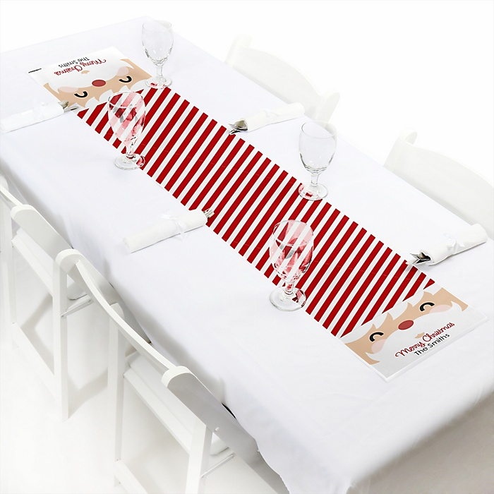 """Jolly Santa Claus - Personalized Petite Christmas Party Table Runner - 12"""" x 60"""""""