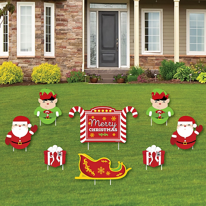 Jolly Santa Claus – Merry Christmas Yard Sign & Outdoor Lawn Decorations – Christmas Yard Signs – Set of 8