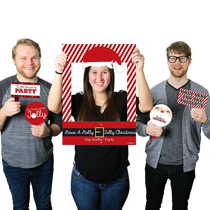 Jolly Santa Claus - Personalized Christmas Selfie Photo Booth Picture Frame & Props - Printed on Sturdy Material