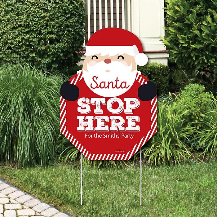 Jolly Santa Claus – Santa Stop Here Yard Sign – Christmas Welcome Yard Sign