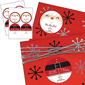 Jolly Santa Claus - Large Round Sticker Personalized Christmas Gift Tags - Set of 8